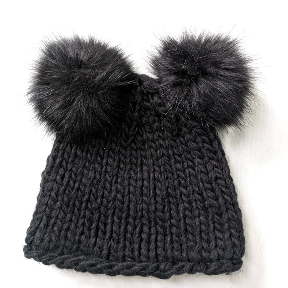 55a6757b Barneys New York Accessories | Black Double Pom Pom Wool Hat | Poshmark